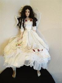 Vintage lifelike high end dolls Porcelain made beautiful bride