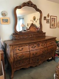 Long Wood Dresser with Mirror,  11 Drawers (9 large/2 small)