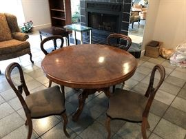 Antique Pedestal Table with 4 chairs