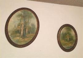 KET003 Two Vintage Oval Tree Paintings