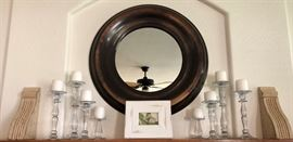 Crate and Barrel Round Metal Mirror