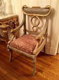 Ornate wood hand-painted armchair with gold accents (25w x 24d x 43h)