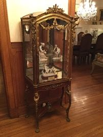 Antique wooden display cabinet with gold metal accents (23w x 15d x 65h)