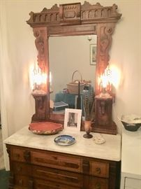 Eastlake dresser, Roseville pottery, pheasant feathers, old pair light fixture lamps with lustres