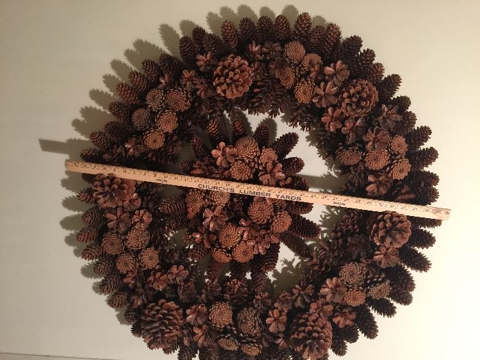 "Hand made pine cone burst within a 36"" wreath - stunning decoration for inside or out."