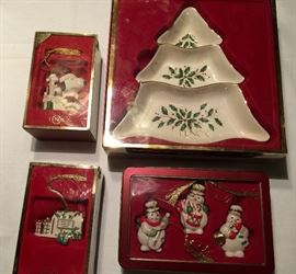 Lennox ornaments and 3 tier serving dish