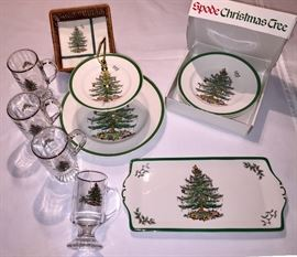 Spode Christmas Tree Pattern - England. All in original box except 2 tier cookie server