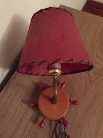 vintage ship wheel lamp