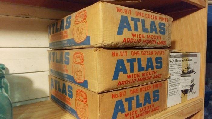 Vintage Atlas Pint Jars in Original Boxes