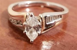 14k Ring with .51ct. Brilliant Cut Marquise Shape Diamond