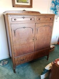 Turn of the Century Dresser  with 2 doors covering 4 drawers