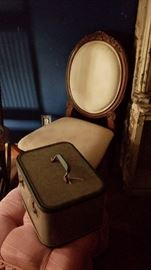 Vintage luggage, chairs