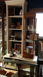Architectural elements, vintage kitsch, shelves, and tables