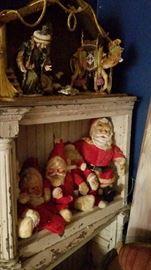 Vintage Santas, Vintage shelf