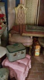 Vintage chairs and stools, luggage
