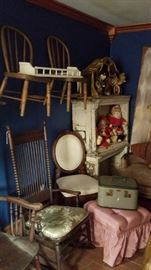 Vintage chairs, shelves, luggage, and stools