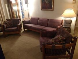 Late Mid Century wood frame chairs and sofa