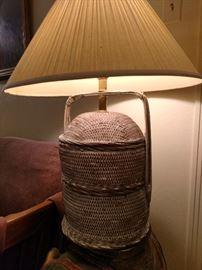 Mid Century wicker urn lamp