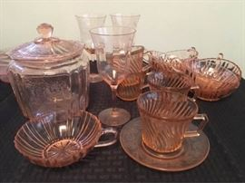 Assorted pink and green depression glass     https://ctbids.com/#!/description/share/74558