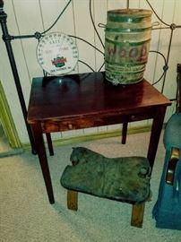"""Unusual Desk, """"Woody"""" Homemade Keg, Vintage Advertising Thermometer"""