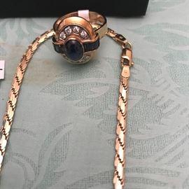 Matching 14k sapphire and Diamond ring