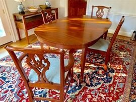 Henkel Harris Wild Black Cherry Federal dining table and chairs.  Chairs recently reupholstered.  RUG NOT FOR SALE.