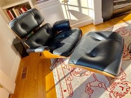 Herman Miller Eames style chair and ottoman from Design within Reach.  RUG NOT FOR SALE