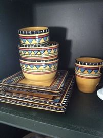 Set of colorful dishes
