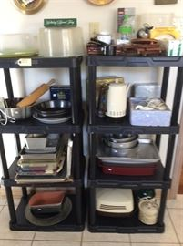 Kitchen items, baking pans, cookie press, electric skillet.