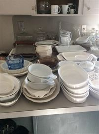 Lots to great white cookware and serving dishes.
