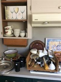 Utensils, wine glasses, miscellaneous kitchen items