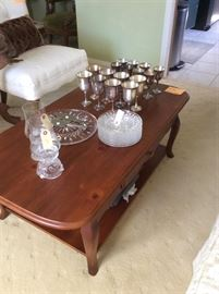 Cherry coffee table, Waterford Crystal cake plate and dishes, Salem Silverplate goblets