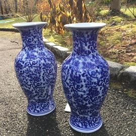 Large Blue and white vases, $75 pair