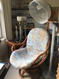 Pair of rattan egg swivel chairs- $225
