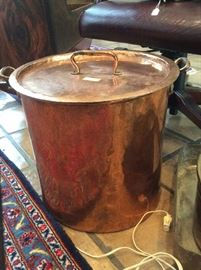 Huge copper pot with lid