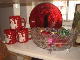 vintage Christmas ornaments, cranberry glass, holiday decor