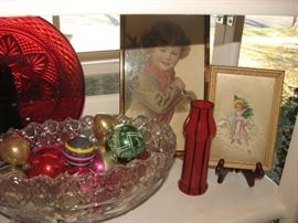 vintage Christmas ornaments, photos