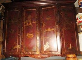 Oriental style wall mount TV cabinet