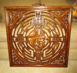 Oriental carved wooden wall hanging