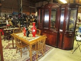 Oak dining room table & 4 chairs, Large hand crafted china cabinet, Oriental vases w/ inlay designs
