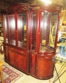 Large quality hand crafted china cabinet w/ mirror back and glass shelves!  Stunning!