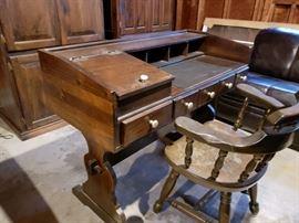 Dark Pine desk and chair