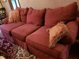 Red chenille couch