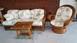Superb Rattan Sofa, Chair, and Table