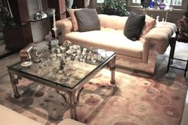 Pair of Chrome and Cloth Sofas, Chrome and Glass Coffee Table, Accent Pillows and lots of Small Decorative Items such as Swarovski & Lalique