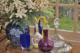 Colorful Glass Bottles, Decanters, Bowls and Urns