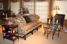 Sofa, 3 Tiered Side Table, Oval Glass & Wood Coffee Table with LOADS of Decorative Items from Lamps to Plants