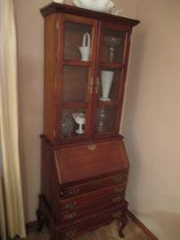 Cherry wood secretary/bookcase