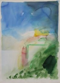 TILLYER William Watercolor on Paper Abstract