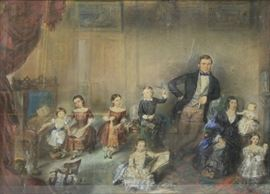 AMERICAN School Pastel on Canvas th Century